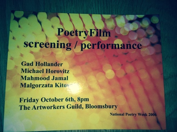 Postcard for the PoetryFilm event at the Artworkers' Guild in October 2006
