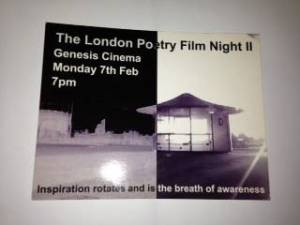Postcard for the London PoetryFilm Night II event in February 2005.