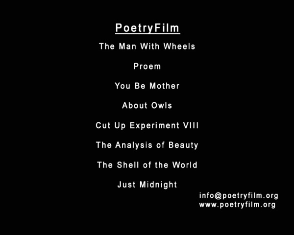 Menu screen for the PoetryFilm event at Laugharne Castle in June 2014