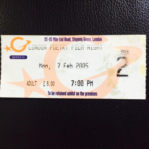 London PoetryFilm Night Ticket